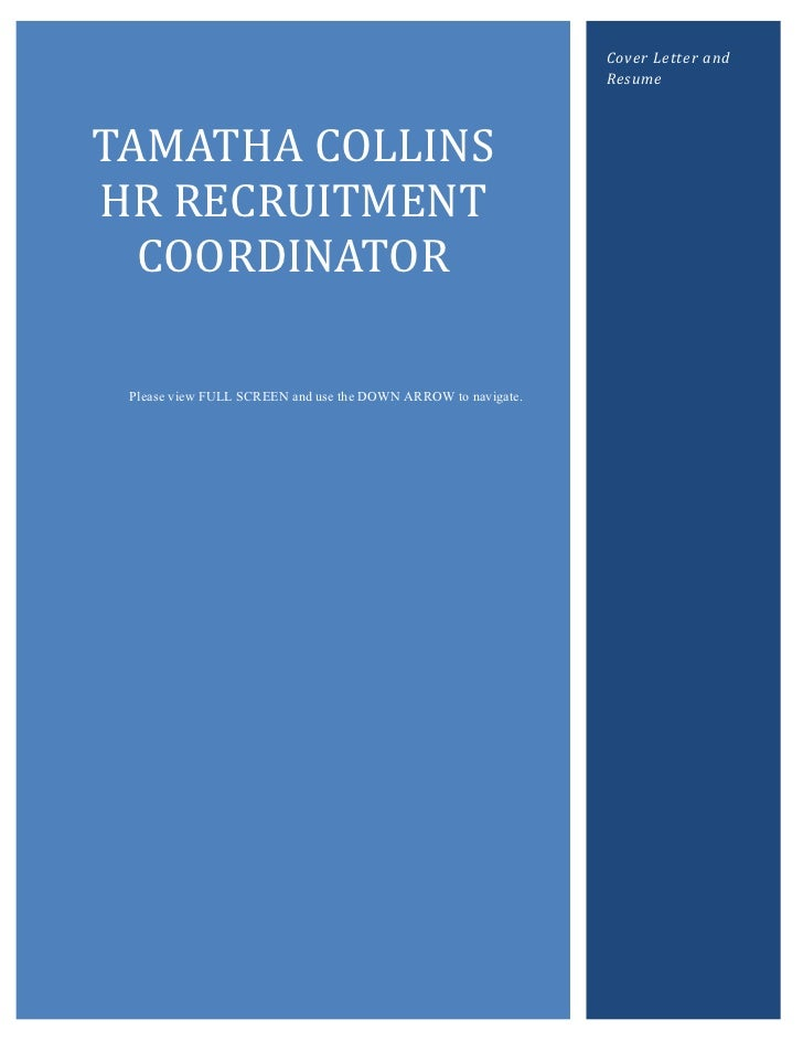 Cover Letter and                                                               ResumeTAMATHA COLLINSHR RECRUITMENT  COORDI...