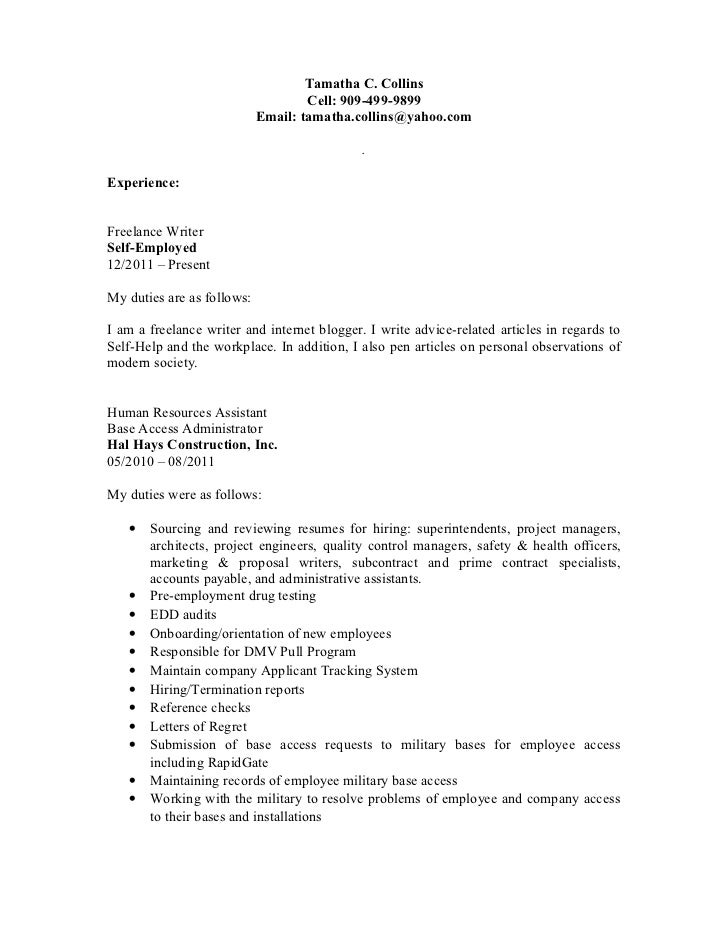 Freelance Writer Cover Letter No Experience