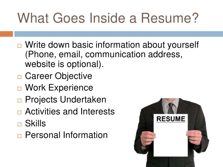 what goes inside a resume