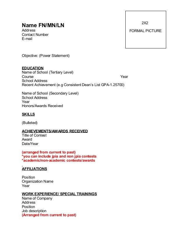Merveilleux Resume Format. 2X2Name FN/MN/LNAddress ...