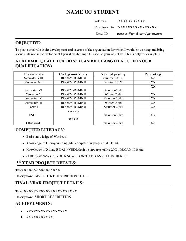 Resume format for OnCampus freshers placements – Objectives for Resume for Freshers