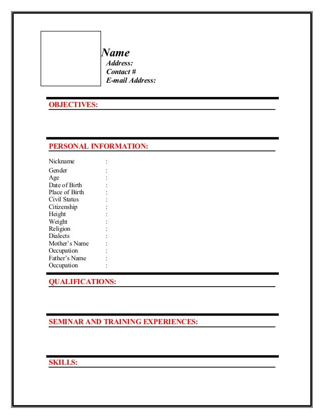 Sample Resume Format Personal Information