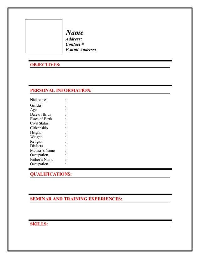 Personal Resume Format | Resume Format