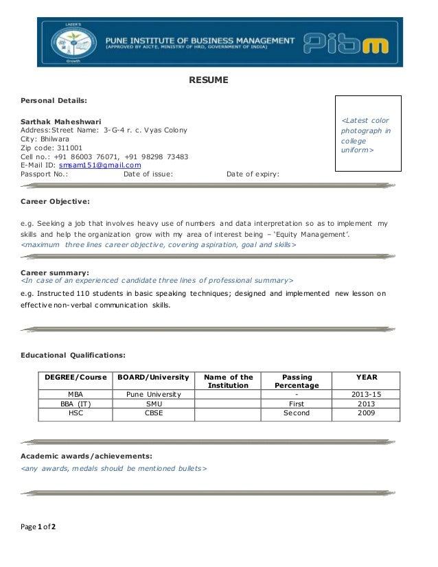 infosys resume format resume format