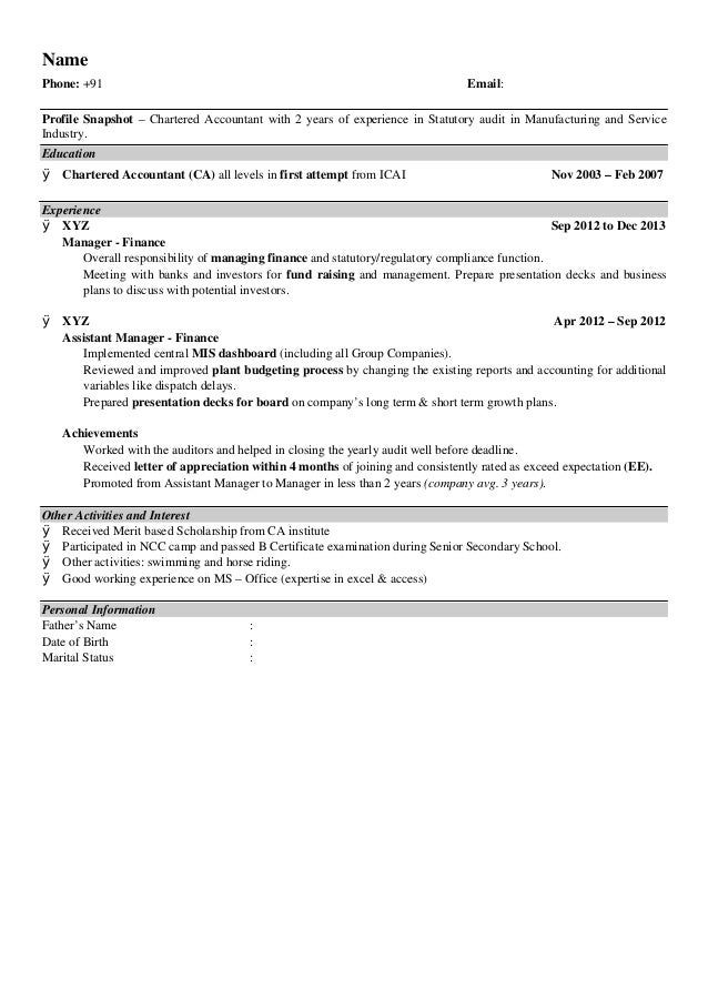 Resume Format For Accountant Freshers - Professional User Manual ...