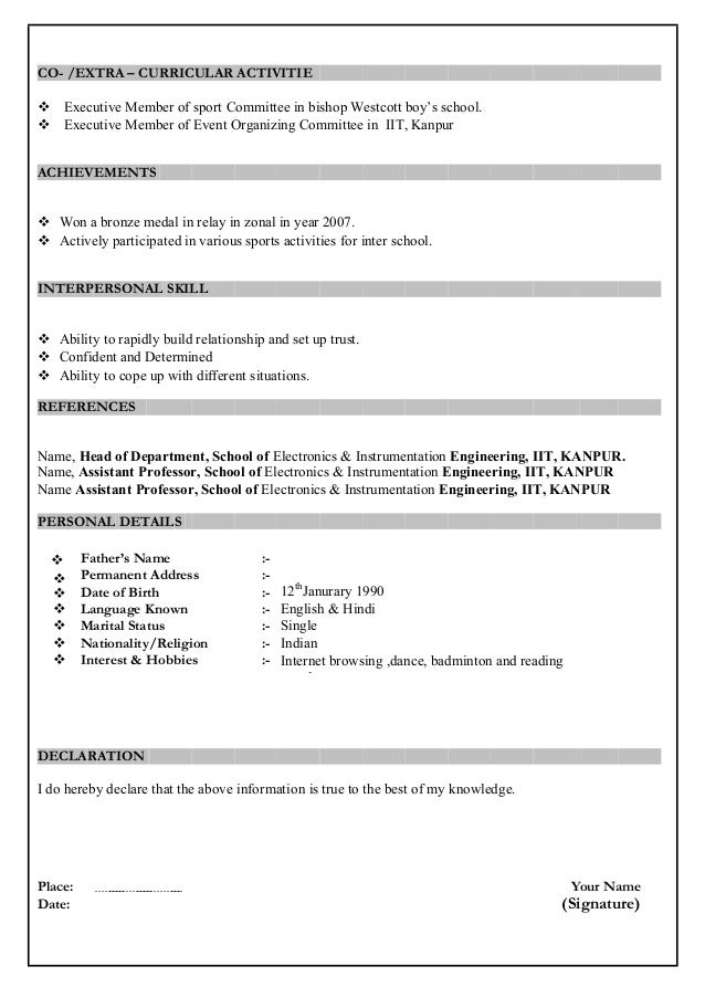 resume format for freshers download