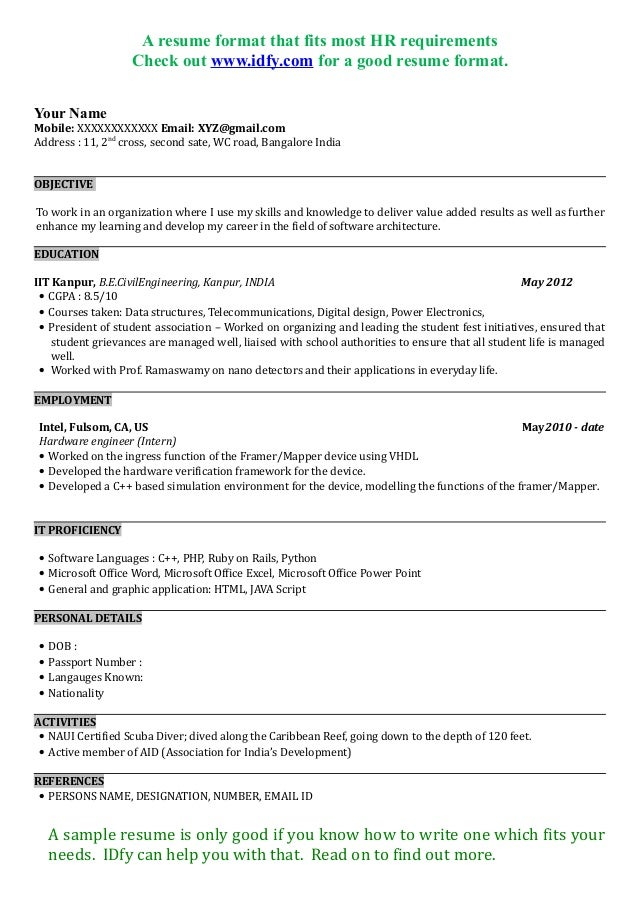 Resume Format. Resume Templates Mca Resume Template For Fresher