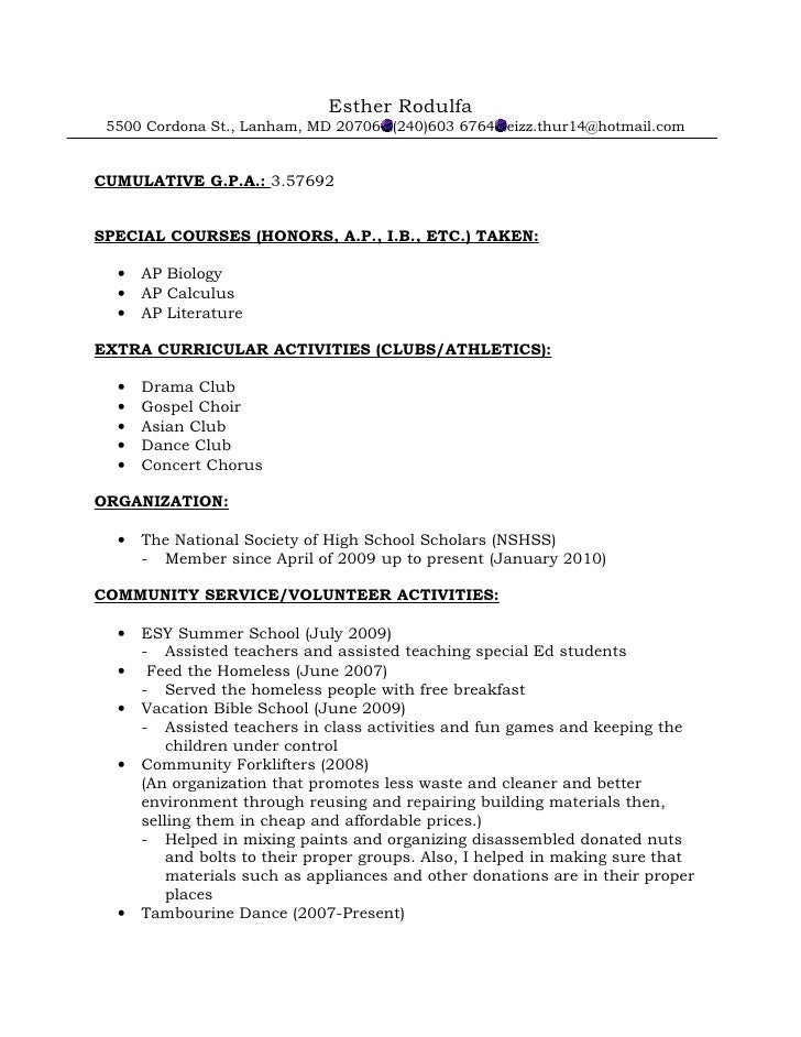 resume format for recommendations - Academic Resume Template For High School Students