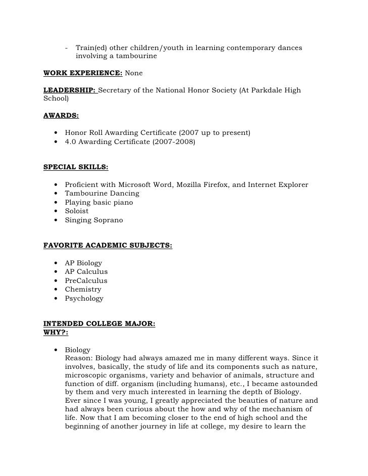 resume format for recommendations