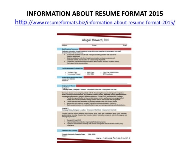 resume format for 2015 - Kubre.euforic.co