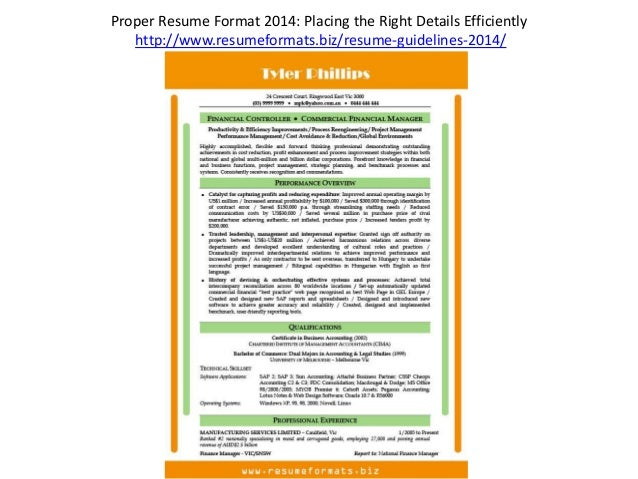 correct resume format