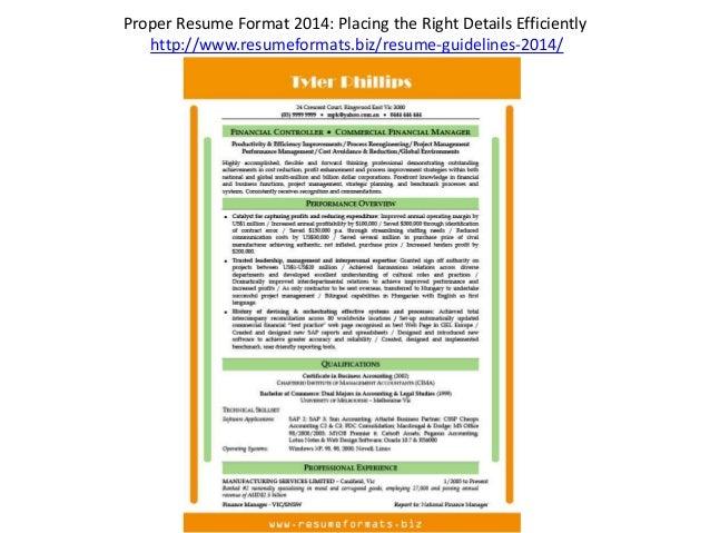 Proper Resume Format ...  Correct Resume Format