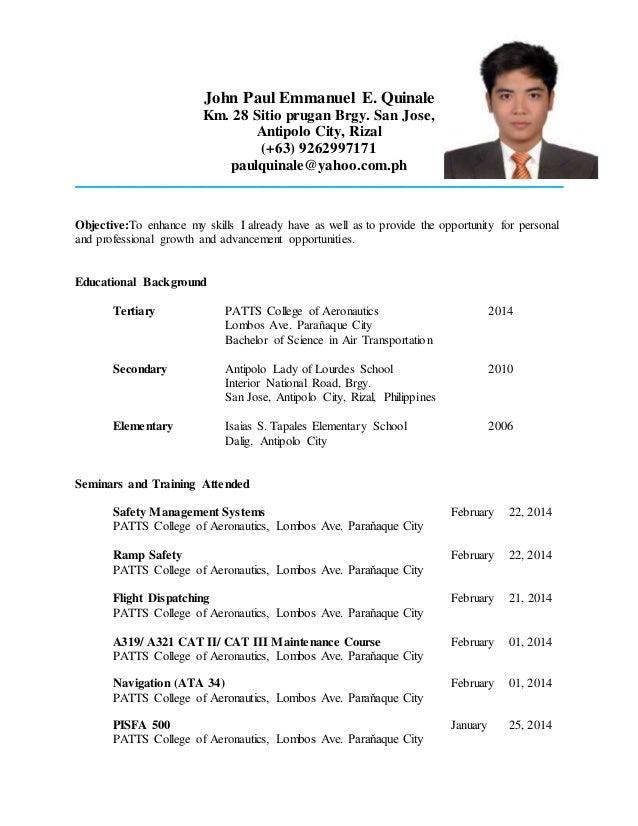 Superb Resume For Ojt / Work. John Paul Emmanuel E. Quinale Km. 28 Sitio Prugan  Brgy. With Ojt Resume
