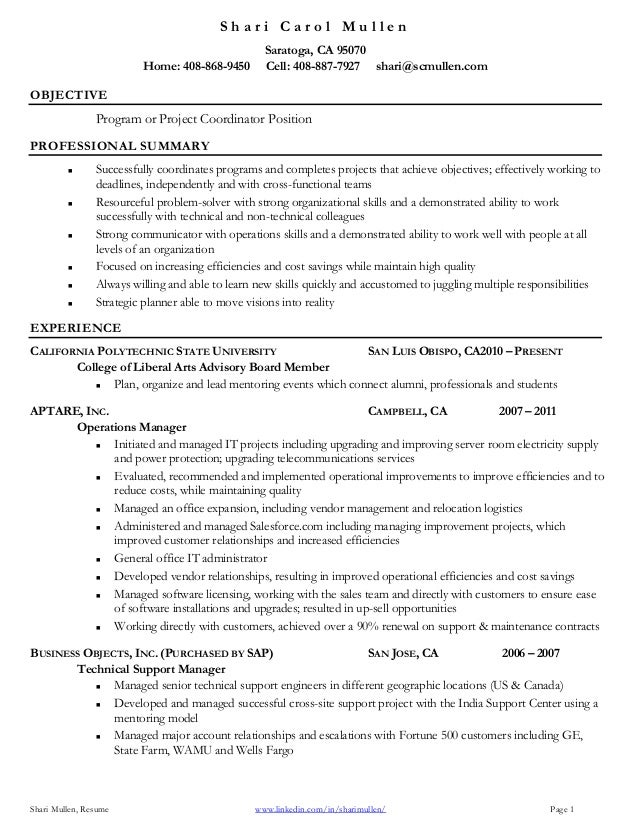 Lovely Project Coordinator Resume. S H A R I C A R O L M U L L E N Shari Mullen,  Resume Www.linkedin.com/ ... In Project Coordinator Resume Samples