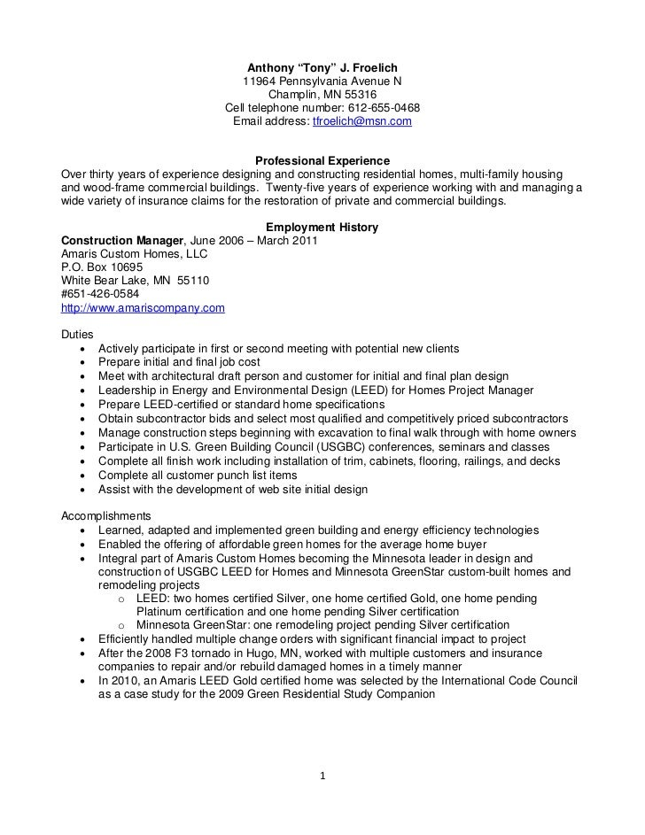 Resume Froelich, Anthony Construction Management