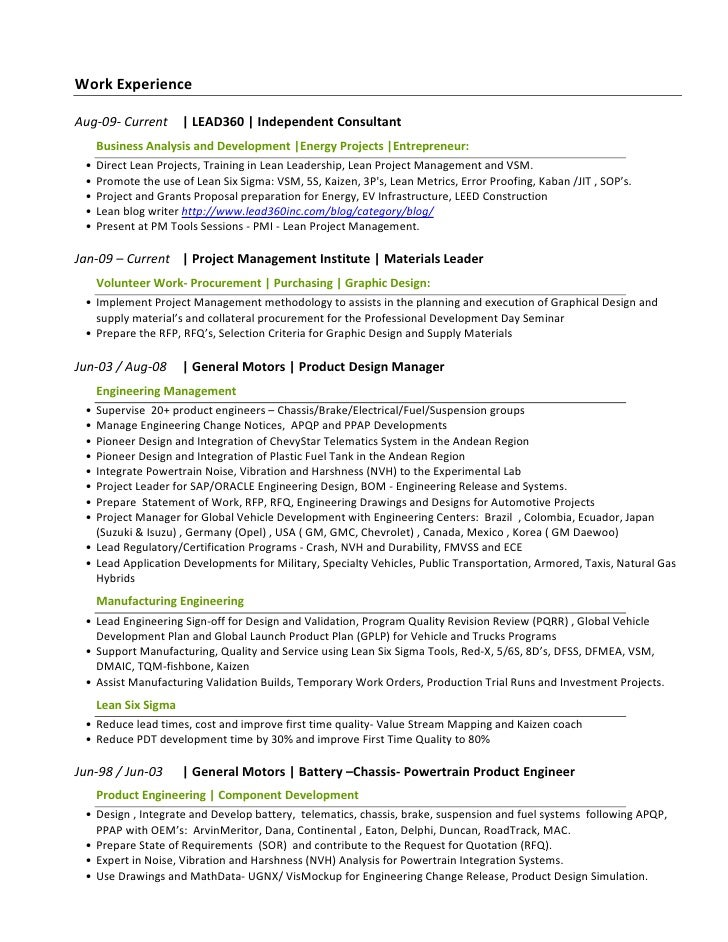 Resume For Engineering Project Manager