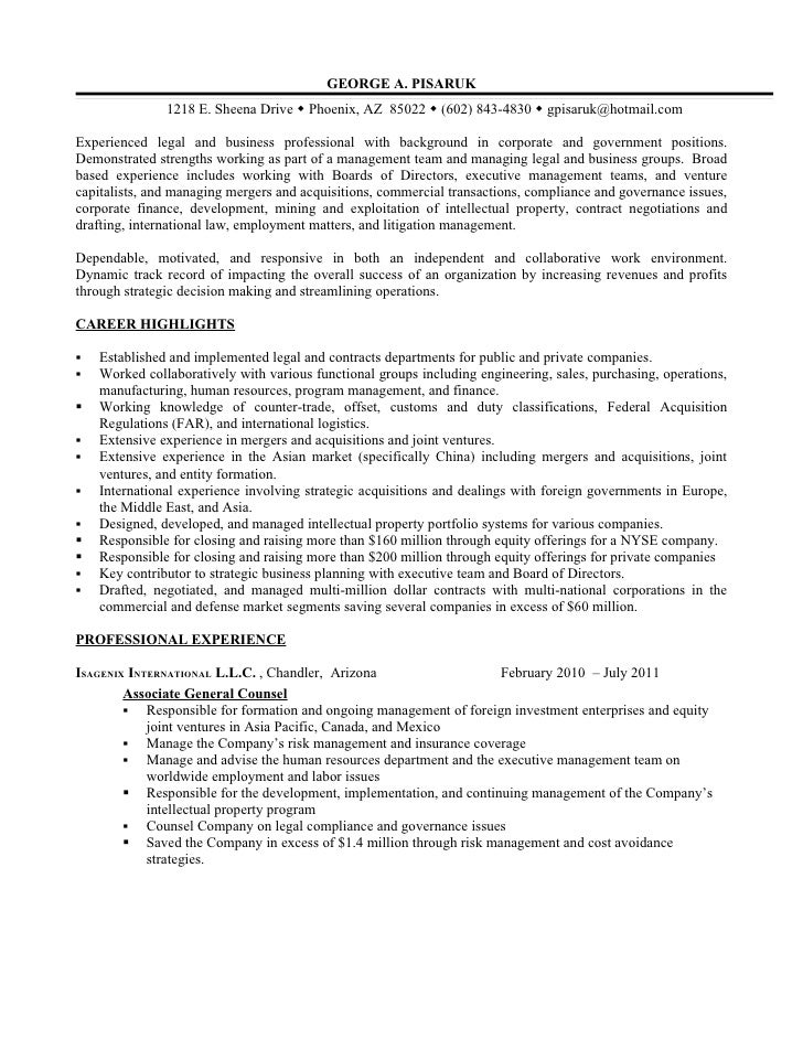 resume additional experience as business legal professional
