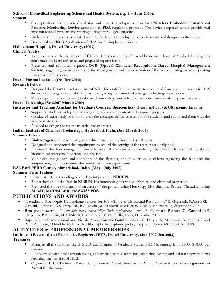 Biomedical Engineer Resume. Biomedical Design Engineer Cover ...