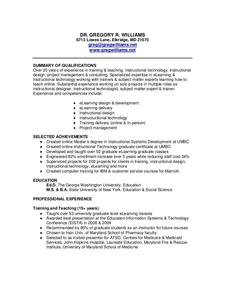 resume of greg williams
