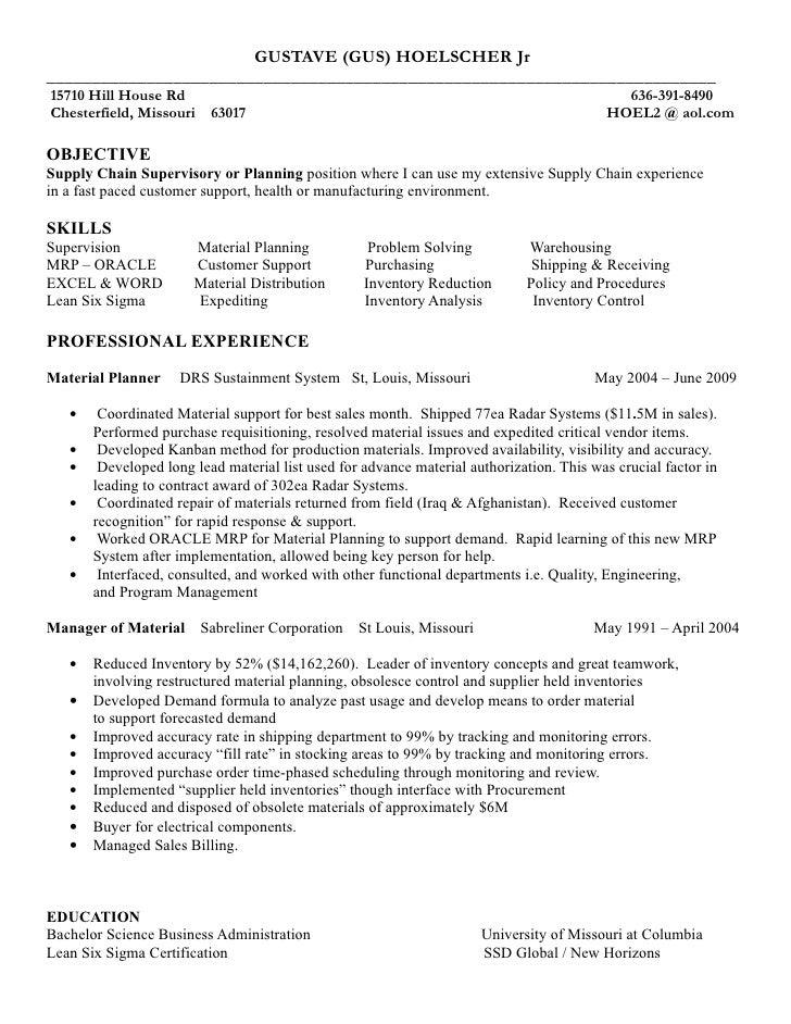 resume gus hoelscher supply chain sprv word 2003