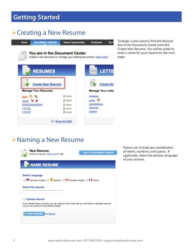 optimal 2 0 resume builder help