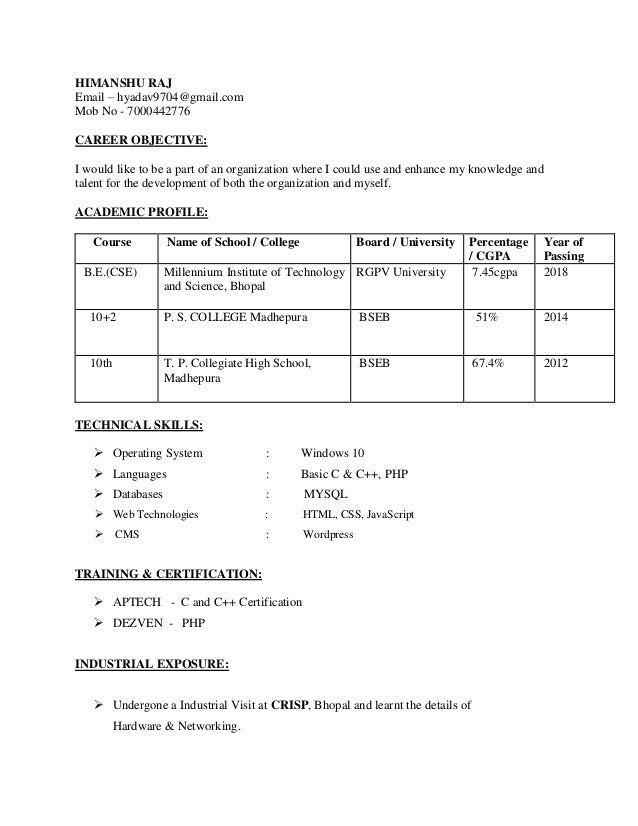 Resume Of Himanshu Computer Science Engineer Fresher