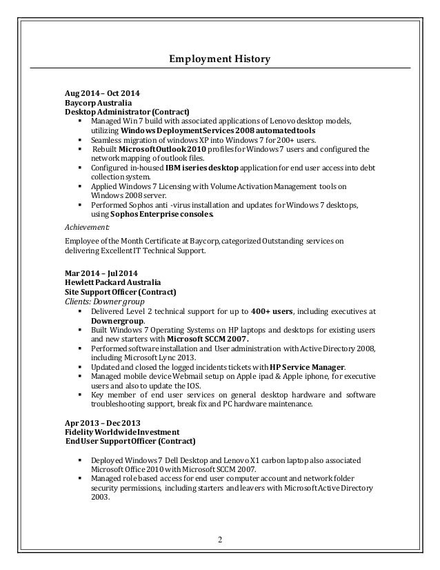 resume it support updated - It Support Resume