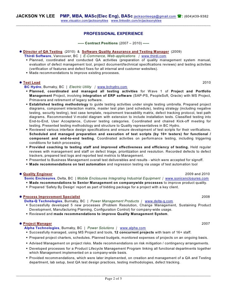 Resume jackson lee for Sample resume for software tester 2 years experience