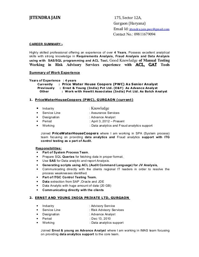 Resume jitendra for Ernst and young resume sample
