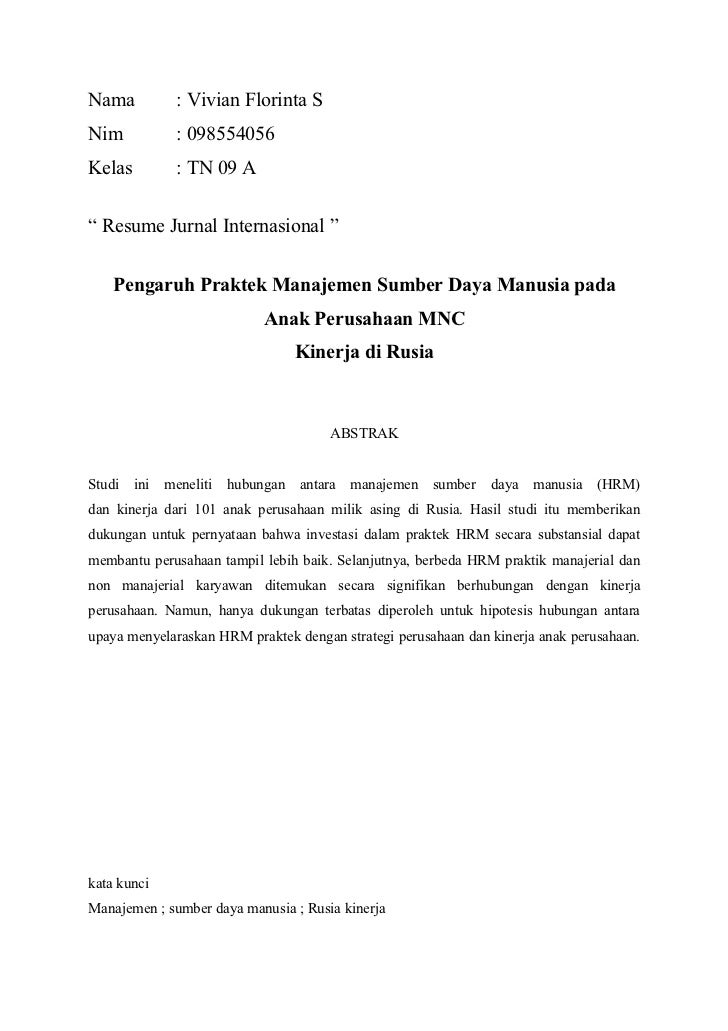 Resume jurnal internasional msdm