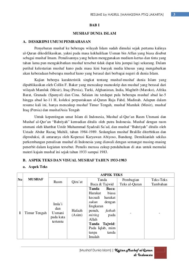 Resume Kajian Mushaf Al Quran Indonesia Pdf