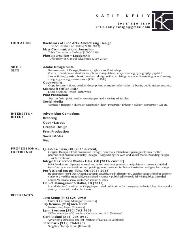 Bachelors Of Fine Arts: Advertising Design The Art Institute Of Dallas  [2010  2013  Design A Resume