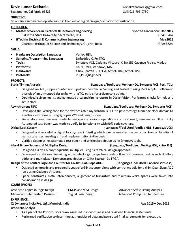 page 1 of 1 kevinkumar kothadia kevinkothadia06gmailcom sacramento california 95825 cell - Computer Science Co Op Resume