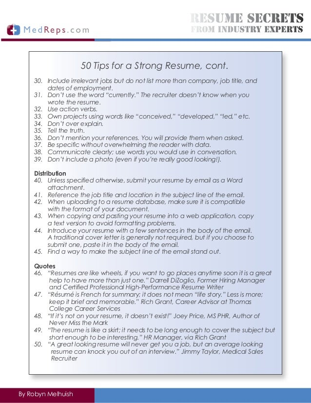 Resume writing experts references