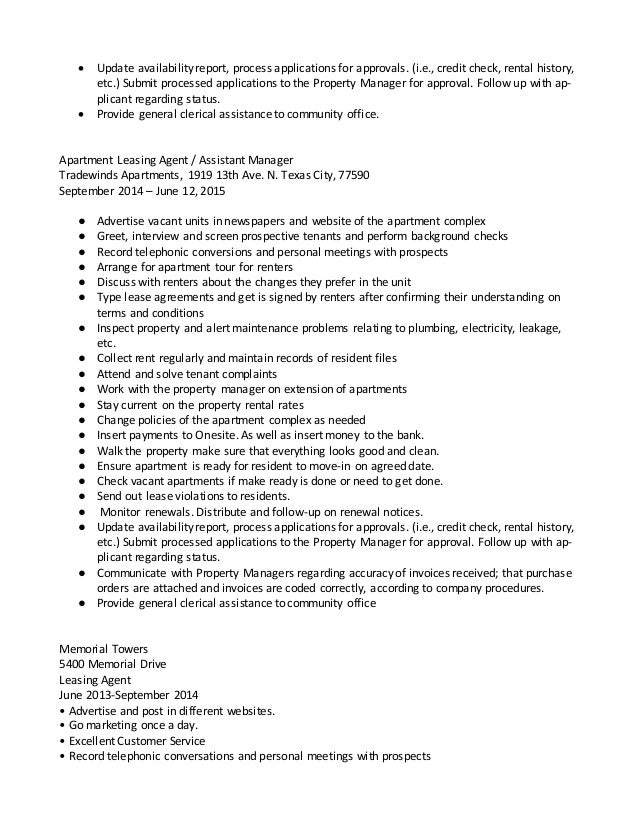 resume for leasing agent