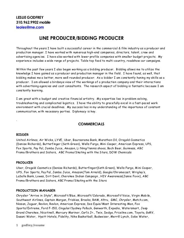 resume leslie godfrey line producer bidding producer