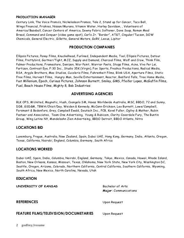resume leslie godfrey line producer bidding producer