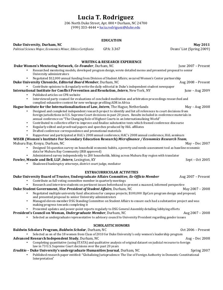 sample professional resume examples