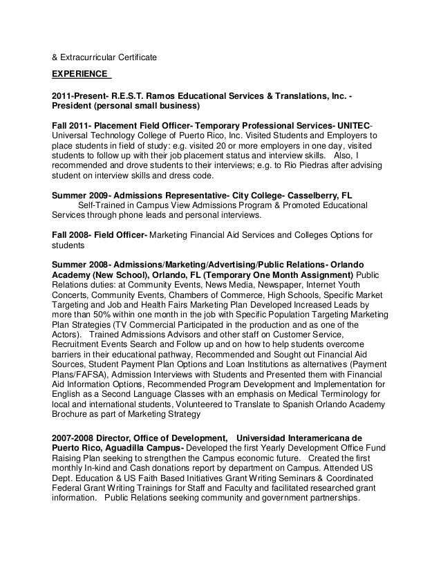 job placement officer resume