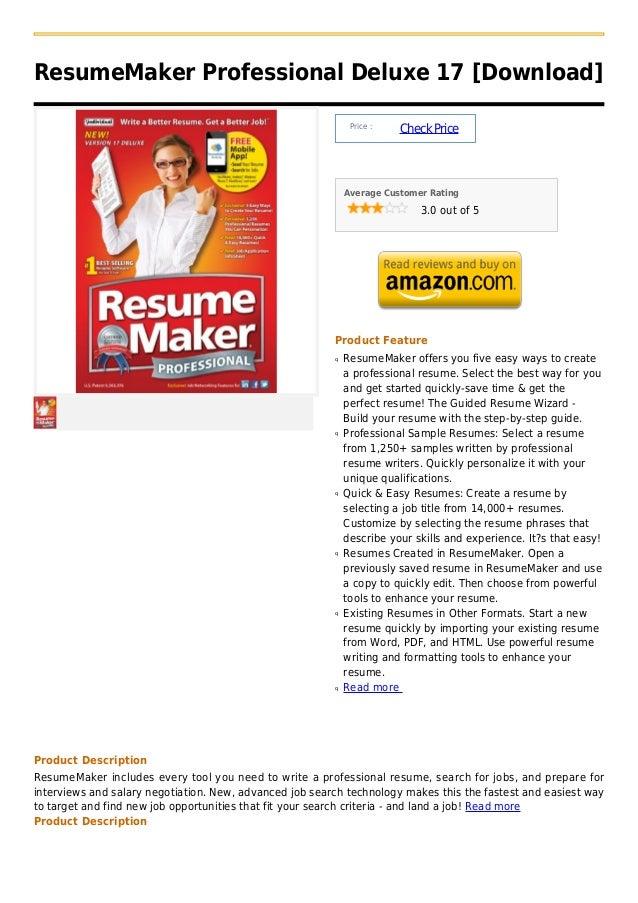 ResumeMaker Professional Deluxe 17 [Download]                                                              Price :        ...