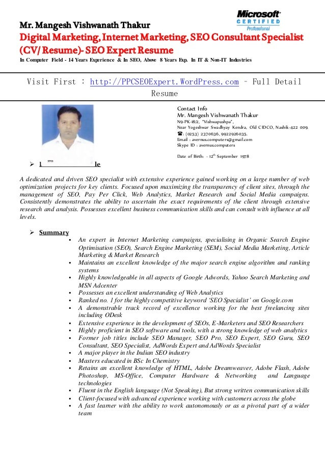 seo expert resume - Gecce.tackletarts.co