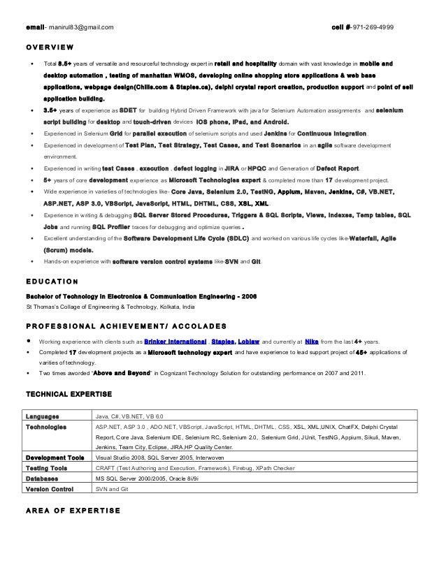 Resume. email- manirul83@gmail.com cell #-971-269-4999 O V E R V I E W ...