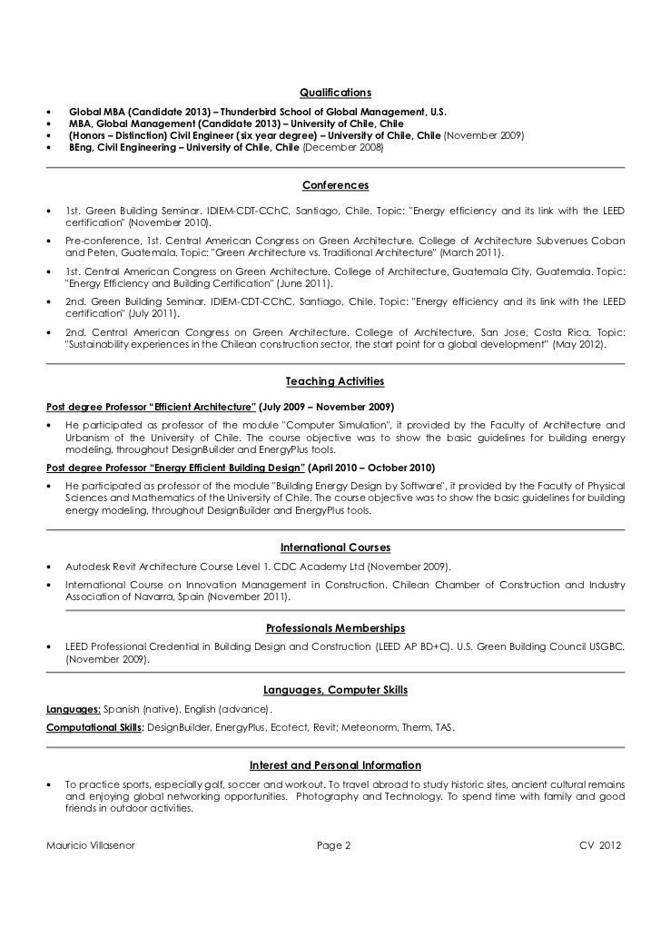 Mauricio Villasenor Page 1 CV 2012; 2. Qualificationsu2022 Global MBA (Candidate  ...