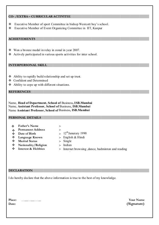 MBA Resume Sample Format – Objectives for Resume for Freshers