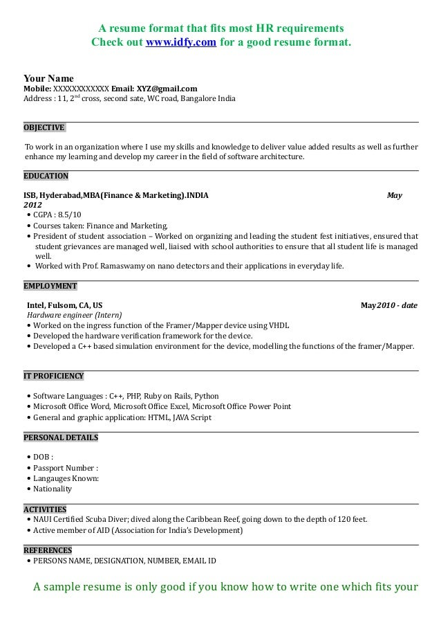 mba resume format for freshers