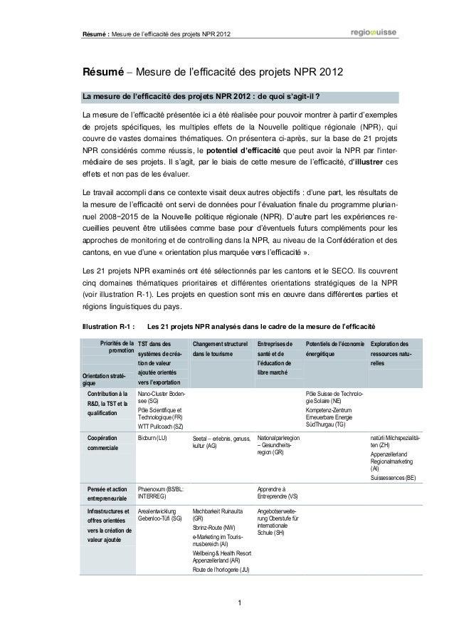 Résumé : Mesure de l'efficacité des projets NPR 2012 1 Résumé  Mesure de l'efficacité des projets NPR 2012 La mesure de l...