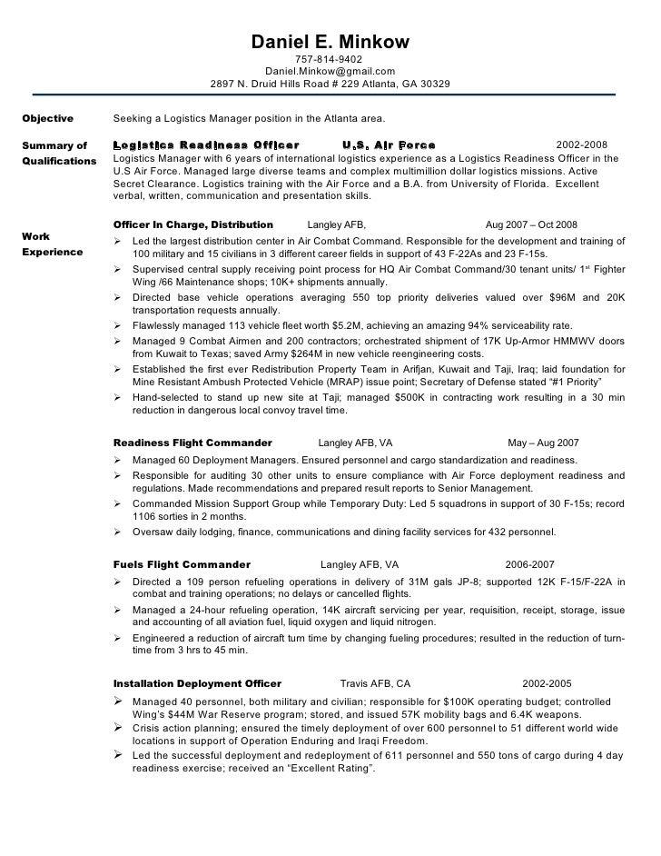 Military Logistics Resume