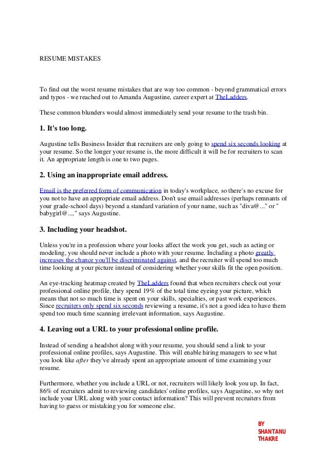 RESUME MISTAKES To Find Out The Worst Resume Mistakes That Are Way Too  Common   Beyond ...