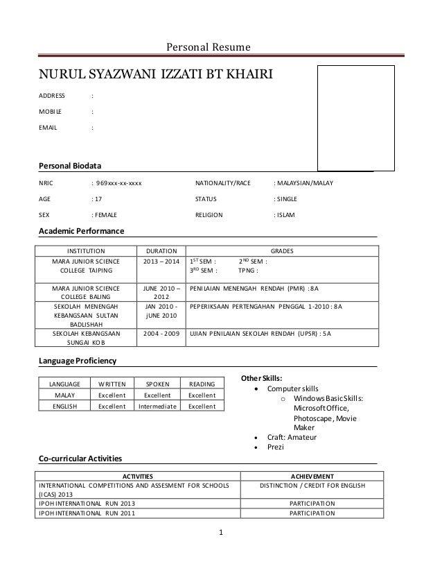 contoh resume untuk site supervisor