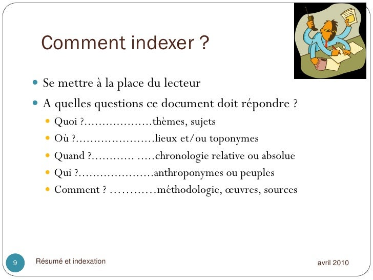 resume mots cles indexation